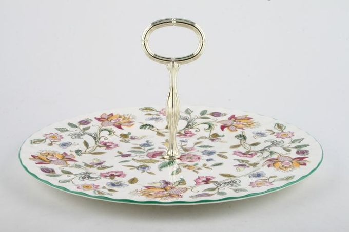 Minton Haddon Hall - Green Edge Cake Stand Single Tier 10 3/4""