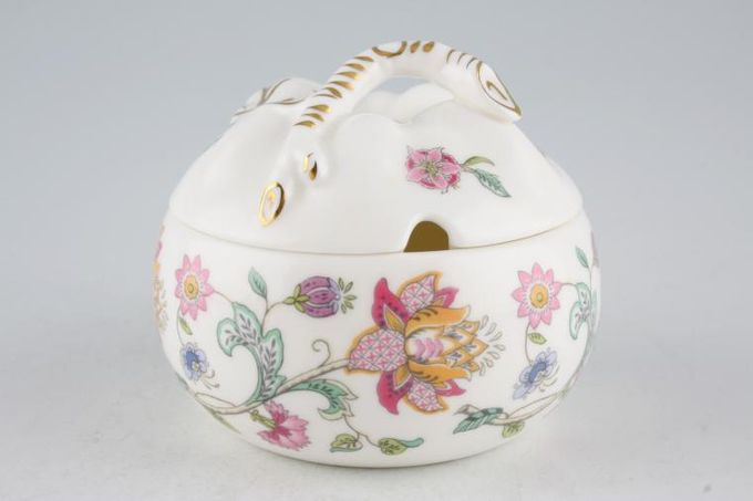 Minton Haddon Hall - Green Edge Honey Pot + Lid Apple Shape - See Haddon Hall Gold Edge