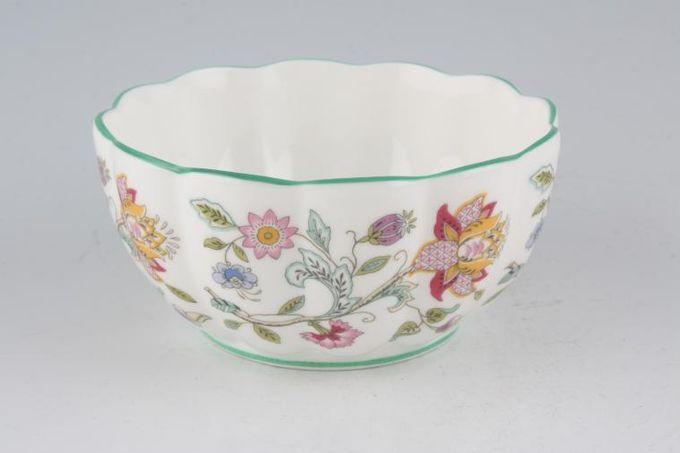 "Minton Haddon Hall - Green Edge Bowl (Giftware) Fluted 4 5/8"""