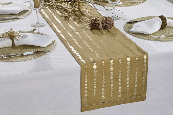 Walton & Co Christmas Table Runners Table Runner Icicle Gold Runner 180 x 30cm