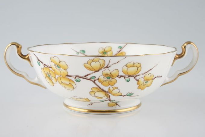 Adderley + Royal Adderley Chinese Blossom - Yellow Soup Cup 2 handles
