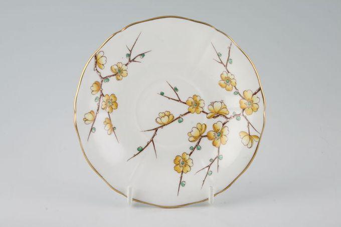 "Adderley + Royal Adderley Chinese Blossom - Yellow Tea Saucer 5 1/2"""