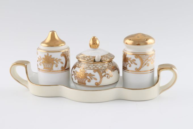 Noritake 44318 Cruet Set Salt, Pepper & Mustard Pot with Spoon on Stand