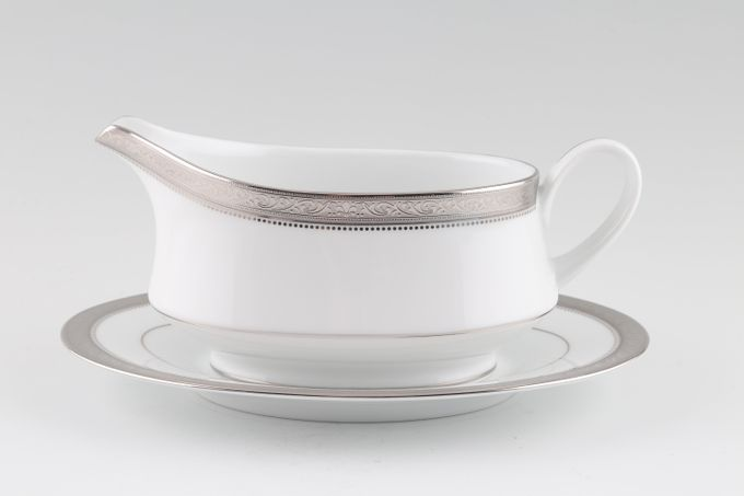 Noritake Signature Platinum Sauce Boat and Stand