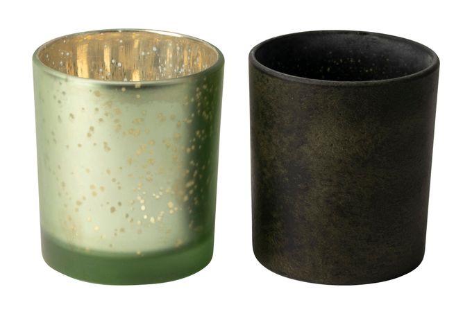 Gusta Home Tealight Holders Pair Green 7 x 8cm