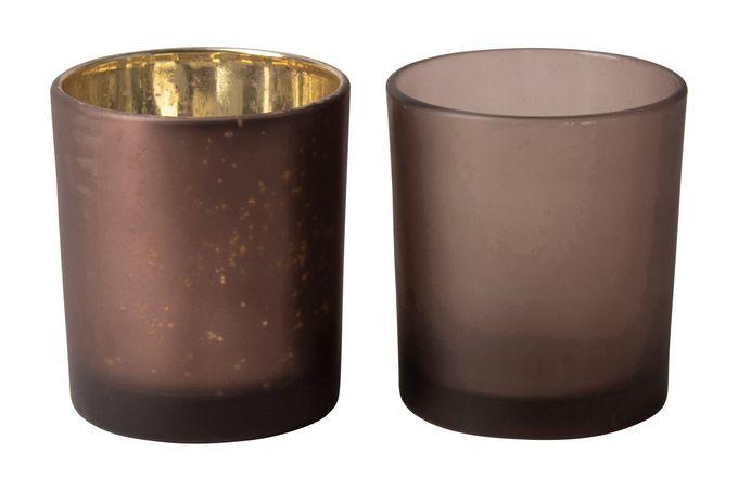 Gusta Home Tealight Holders Pair Purple 7 x 8cm