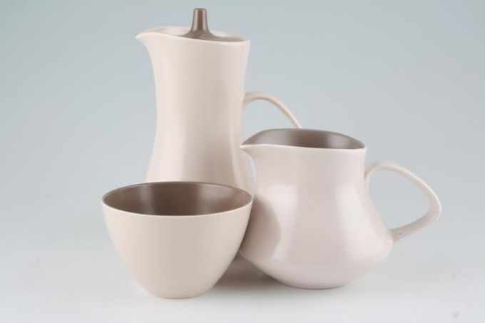 Poole Mushroom and Sepia - C54 Milk Jug, Sugar and Hot Water Jug Set