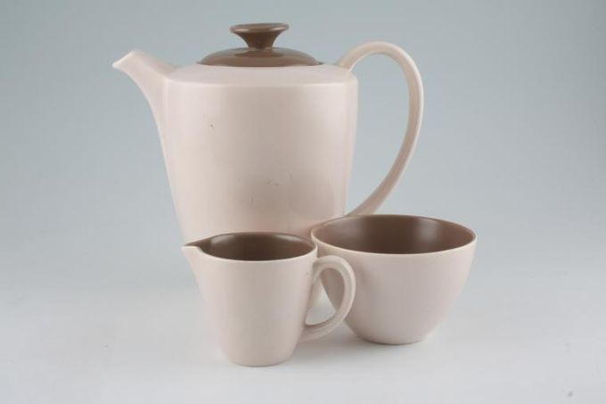 Poole Mushroom and Sepia - C54 Coffee Pot, Cream and Sugar Bowl Set