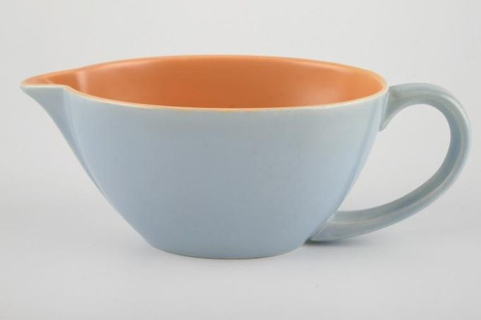 Poole Peach Bloom and Mist Blue - C100 Sauce Boat 7""