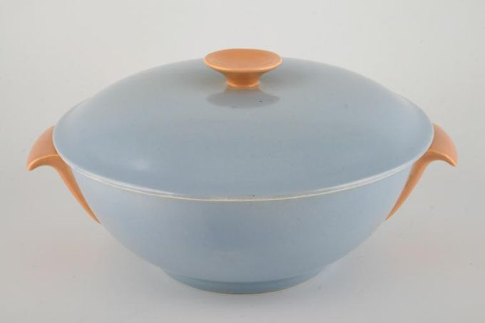 Poole Peach Bloom and Mist Blue - C100 Vegetable Tureen with Lid