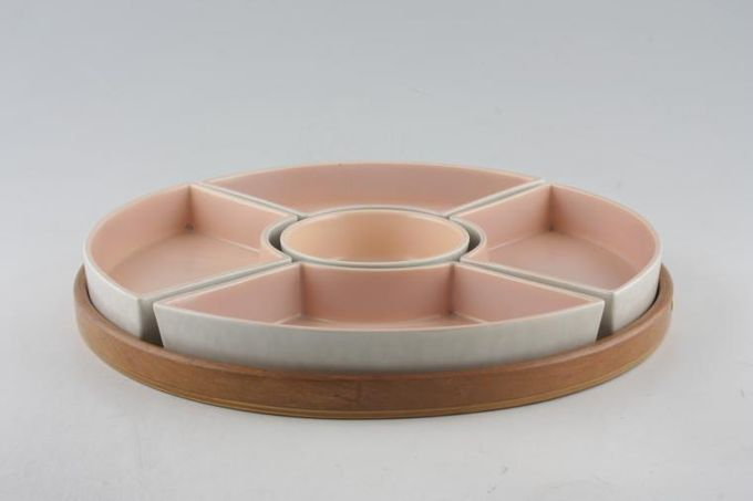 Poole Seagull and Peach - C97 Hor's d'oeuvres Dish 5 Sections on wooden base 11 3/4""