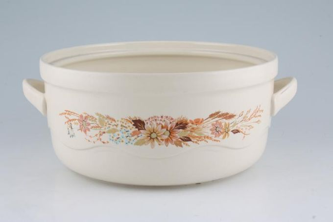 """Poole Summer Glory Casserole Dish Base Only Loop Handles 8 3/4"""""""