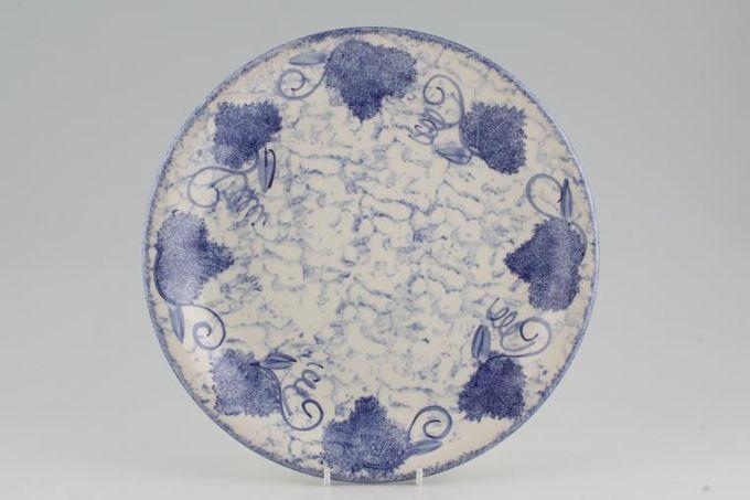 """Poole Blue Leaf Dinner Plate Mottled patern background 10 3/4"""""""