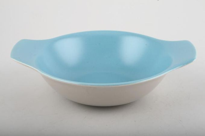 """Poole Twintone Dove Grey and Sky Blue Oatmeal / Cereal / Soup Eared soup bowls 6 5/8"""""""