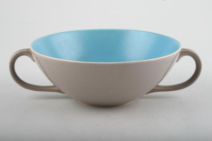 Poole Twintone Dove Grey and Sky Blue Soup Cup 2 handles