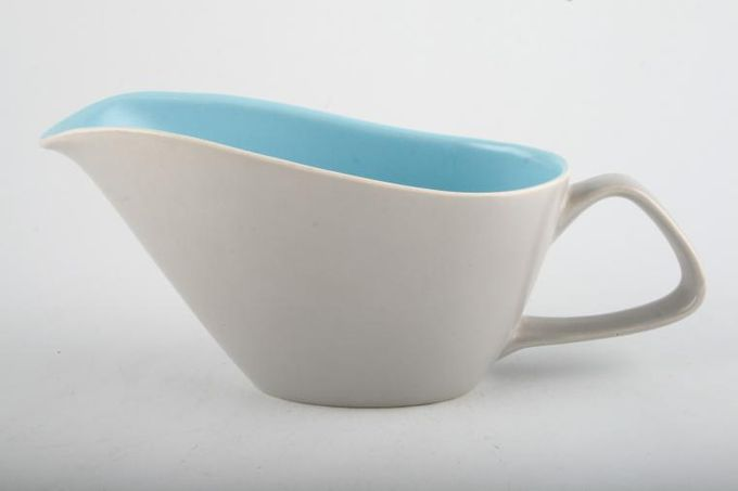 Poole Twintone Dove Grey and Sky Blue Sauce Boat 6 1/2""