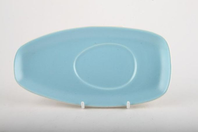 """Poole Twintone Dove Grey and Sky Blue Sauce Boat Stand 7 3/4"""""""