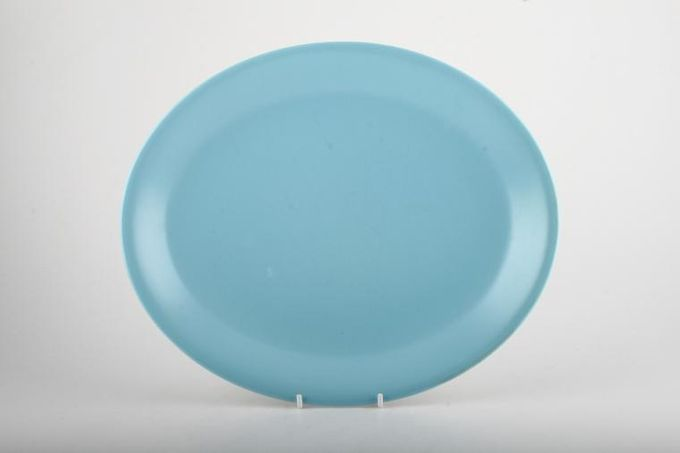 """Poole Twintone Dove Grey and Sky Blue Oval Plate / Platter 11"""""""