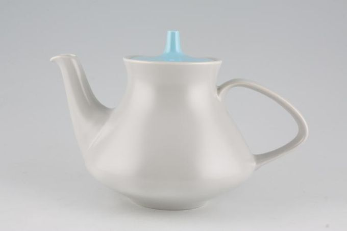 Poole Twintone Dove Grey and Sky Blue Teapot 2pt