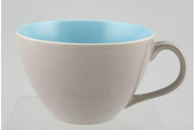 "Poole Twintone Dove Grey and Sky Blue Teacup 3 1/2 x 2 3/8"""
