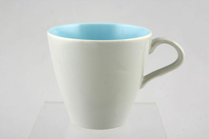 Poole Twintone Dove Grey and Sky Blue Teacup 3 1/8 x 3""
