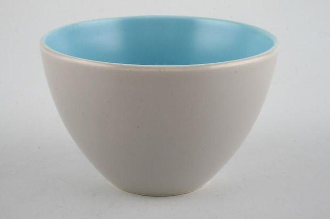 "Poole Twintone Dove Grey and Sky Blue Sugar Bowl - Open (Tea) 4"""