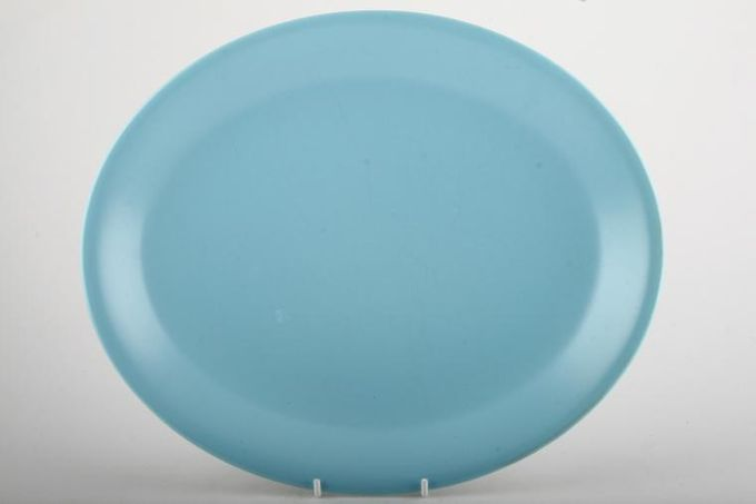 """Poole Twintone Dove Grey and Sky Blue Oval Plate / Platter 11 7/8"""""""