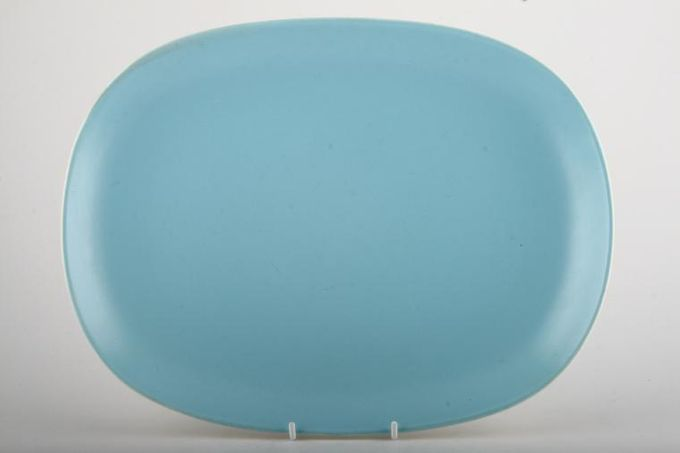 """Poole Twintone Dove Grey and Sky Blue Oblong Plate / Platter 13 3/4"""""""