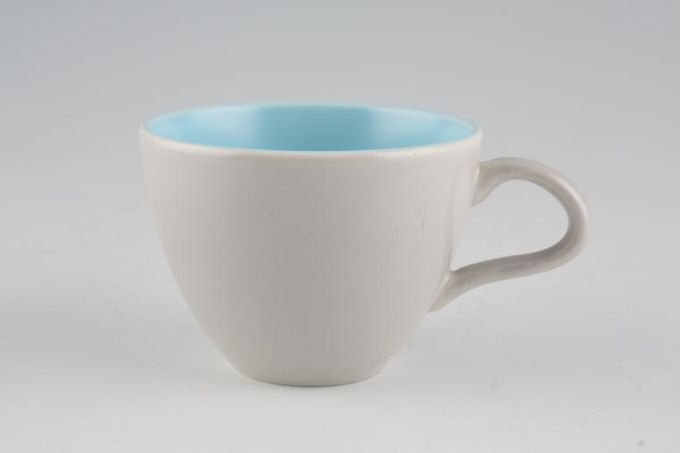 """Poole Twintone Dove Grey and Sky Blue Coffee Cup 2 3/4 x 2"""""""