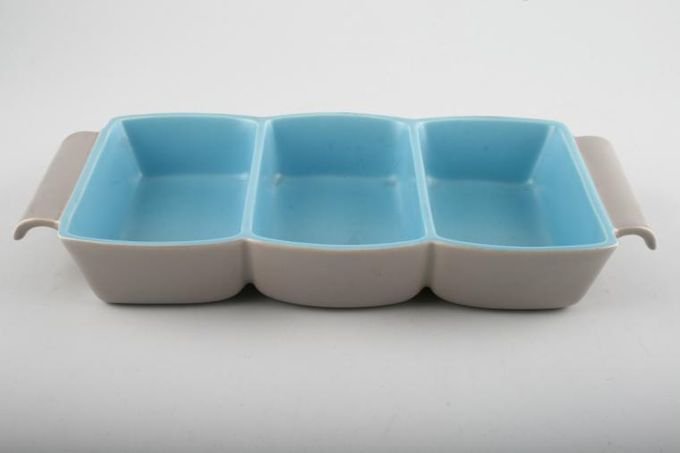 Poole Twintone Dove Grey and Sky Blue Serving Dish Divided dish (3 parts) 10 1/4 x 5 1/4""