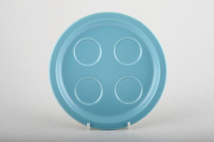 """Poole Twintone Dove Grey and Sky Blue Egg Cup Tray 4 cups 6 3/4"""""""