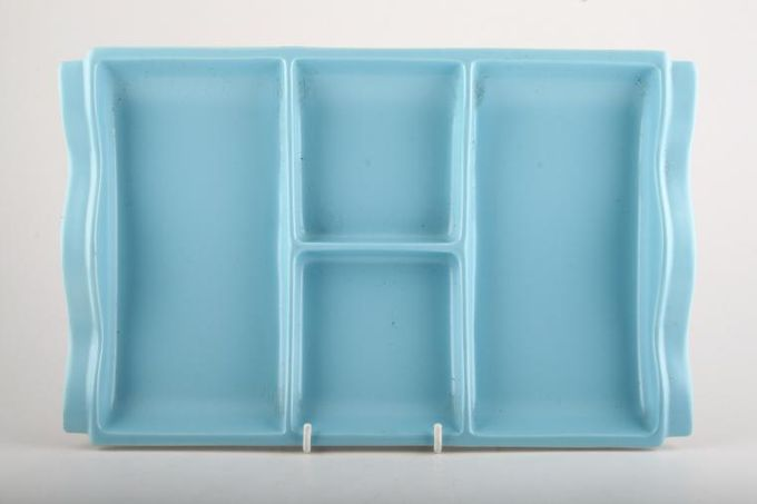 """Poole Twintone Dove Grey and Sky Blue Hor's d'oeuvres Dish 13 1/2 x 8 1/2"""""""