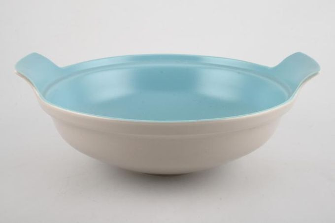 """Poole Twintone Dove Grey and Sky Blue Vegetable Tureen Base Only 10 1/4"""""""