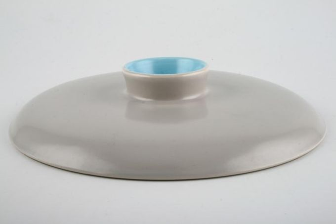 """Poole Twintone Dove Grey and Sky Blue Vegetable Tureen Lid Only 8 1/4"""""""