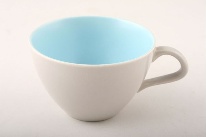 "Poole Twintone Dove Grey and Sky Blue Teacup 3 5/8 x 2 1/4"""