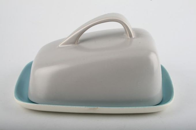 """Poole Twintone Dove Grey and Sky Blue Cheese Dish + Lid 7 3/8"""""""