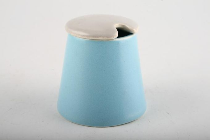Poole Twintone Dove Grey and Sky Blue Mustard Pot + Lid