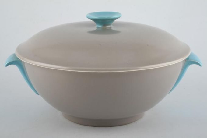 Poole Twintone Dove Grey and Sky Blue Vegetable Tureen with Lid Lid Sits Outside 9 3/4""