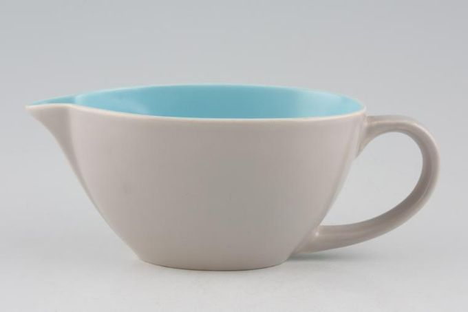 """Poole Twintone Dove Grey and Sky Blue Sauce Boat 5 1/2"""""""