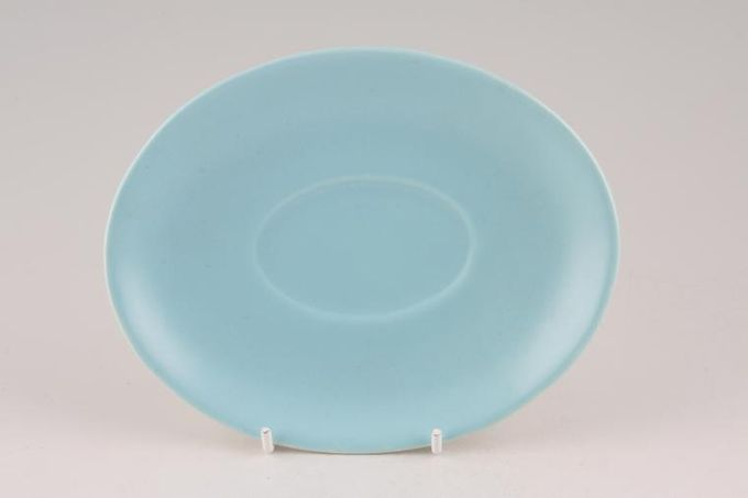 """Poole Twintone Dove Grey and Sky Blue Sauce Boat Stand 6 1/2"""""""