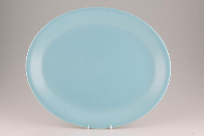 """Poole Twintone Dove Grey and Sky Blue Oval Plate / Platter 14"""""""