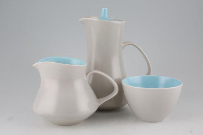 Poole Twintone Dove Grey and Sky Blue Milk Jug, Sugar and Hot Water Jug Set