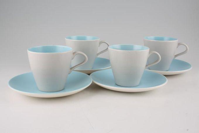 Poole Twintone Dove Grey and Sky Blue Teacup & Saucer - Set of 4