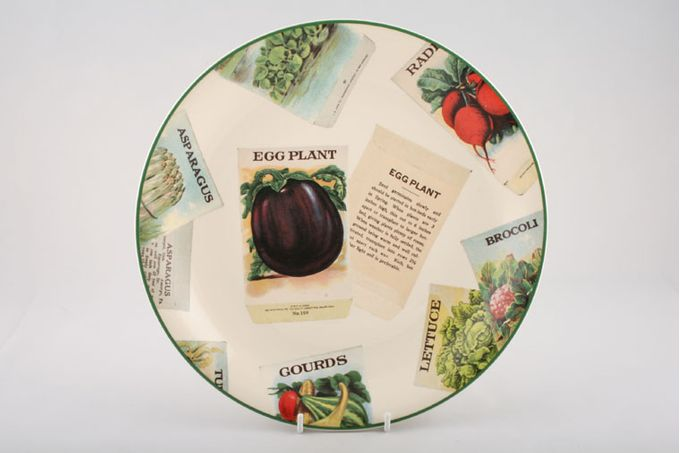 """Poole Seed Packets Dinner Plate Egg Plant 10 3/4"""""""
