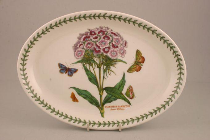 """Portmeirion Botanic Garden Oval Plate / Platter Dianthus Barbatus - Sweet William - named 10 3/4"""""""