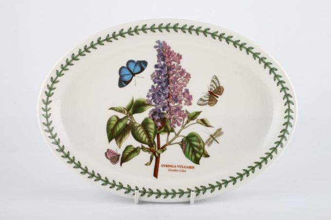 """Portmeirion Botanic Garden Oval Plate / Platter Syringa Vulgaris - Garden Lilac - named 10 3/4"""""""