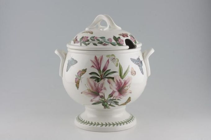Portmeirion Botanic Garden Soup Tureen + Lid Lily & Clematis Florida back and front. Cyclamen Repandum on sides - named. 10pt