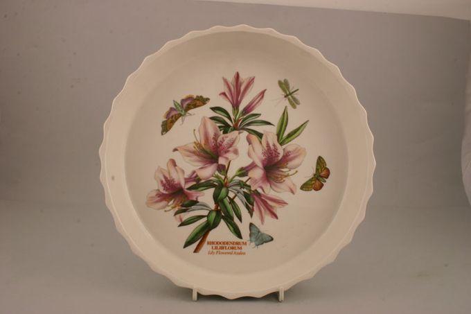 "Portmeirion Botanic Garden Flan Dish Rhododendron Lilliflorum - Lily Flowered Azalea 10 3/4"""