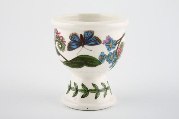 """Portmeirion Botanic Garden Egg Cup Mysotis Paulstris - Forget Me Not - no name. Butterflies may vary. 2 1/4 x 2 1/2"""""""