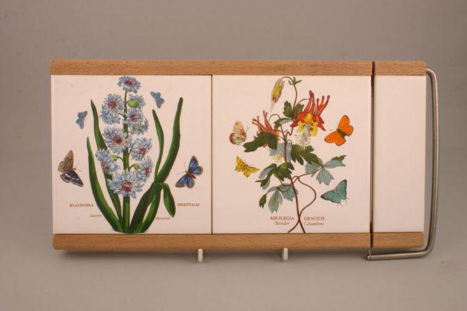 "Portmeirion Botanic Garden Cheese Board Wood Tile with Cutting Wire - Hyacinth Orientalis + Aqualegia Gracilis 14 1/4 x 7 1/4"""